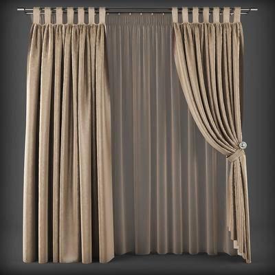 现代, 布艺, 窗帘