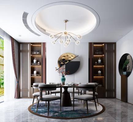 餐厅, 桌椅组合, 吊灯, 墙饰, 置物柜