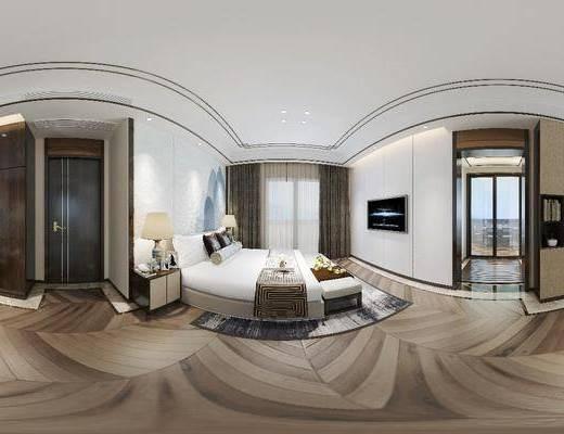 新中式臥室, 臥室, 雙人床