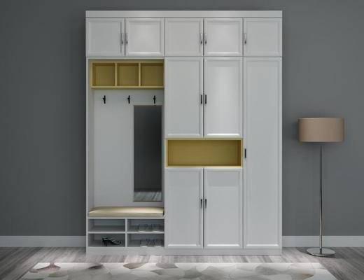 衣柜, 鞋柜, 衣帽架, 落地灯, 柜, 现代