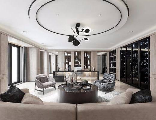 现代轻奢办公室, 多人沙发, 沙发椅, 茶几, 酒柜, 办工桌, 置物架