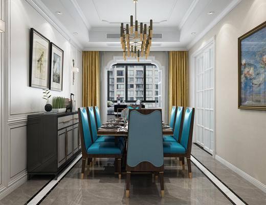 餐厅, 欧式餐厅, 餐桌, 椅子, 装饰柜, 挂画