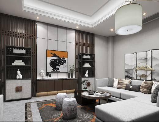 新中式, 客厅, 沙发组合, 中式, 转角沙发, 多人沙发, 电视柜, 屏风