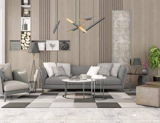 沙發組合, 沙發茶幾組合, 吊燈, 盆栽, 綠植植物, 現代