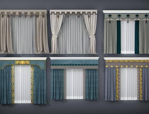窗帘, 新中式窗帘3d模型, 布艺窗帘