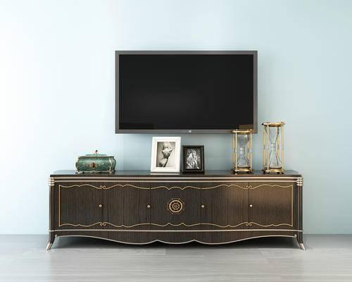 电视柜, 电视机, 装饰品