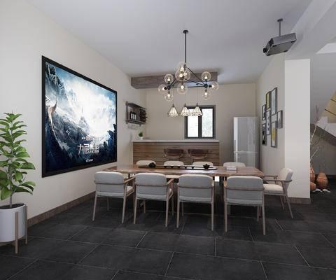 现代影音室, 桌椅组合, 吊灯