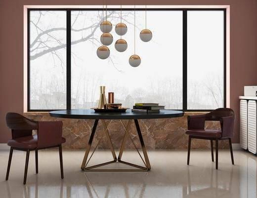 边柜组合, 餐桌, 桌椅组合, 餐厅