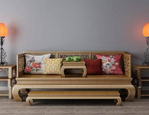 羅漢床, 臺燈組合, 新中式