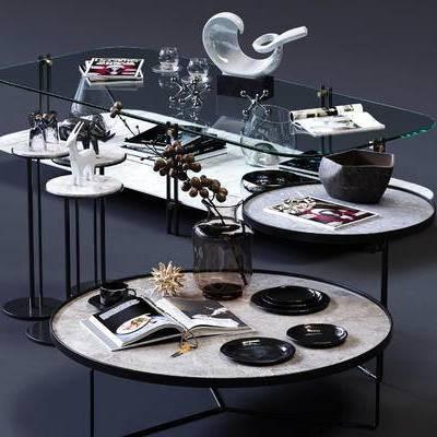 角几, 圆几, 边几, 茶几, 水杯, 器皿, 书籍, 雕塑, 花艺, 摆件, 装饰品, 现代
