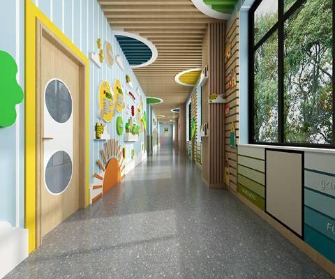 幼儿园, 走廊, 学校文化墙, 吊顶, 墙裙