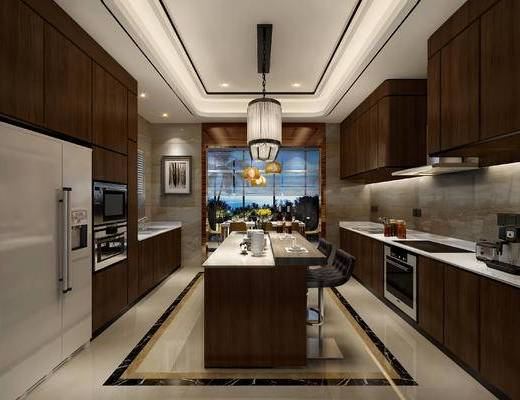 厨房, 橱柜, 烤箱, 现代厨房, 吧台, 吧椅, 现代
