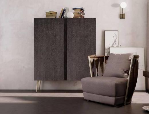 沙发, 单椅, 单人沙发, 边柜, 摆件组合, 壁灯