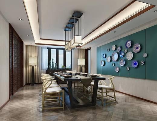 中式餐厅, 中式椅子, 餐桌, 桌椅组合, 餐具, 吊灯