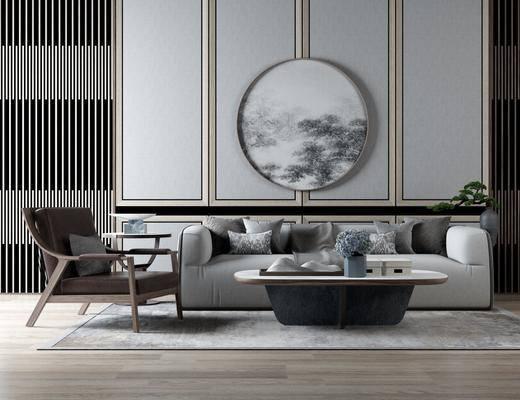 沙发组合, 多人沙发, 茶几, 单人沙发, 圆框画, 装饰画, 挂画, 花瓶, 绿植植物, 新中式
