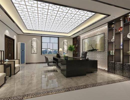 办公室, 新中式办公室, 桌椅组合, 沙发组合, 茶几