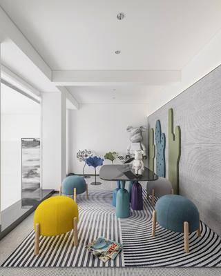 现代儿童娱乐室, 沙发凳, 桌子, 摆件