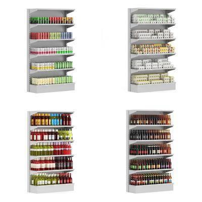 超市, 货架, 现代超市货架, 摆件, 展示柜, 置物架, 酱油, 玻璃瓶, 现代