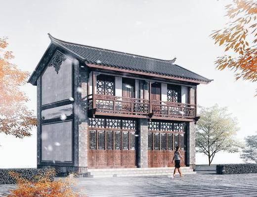中式商業樓, 商業樓, 古建筑商業樓