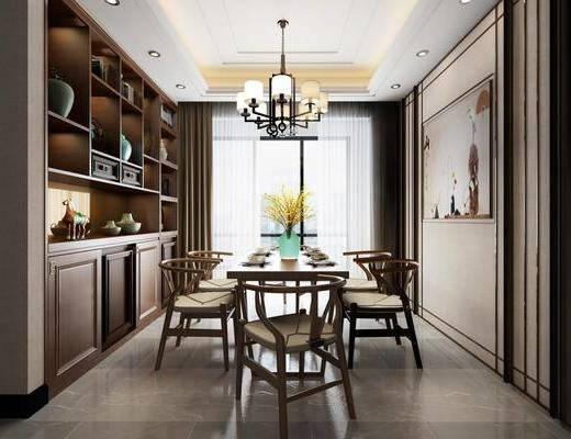 餐厅, 新中式餐厅, 桌椅组合
