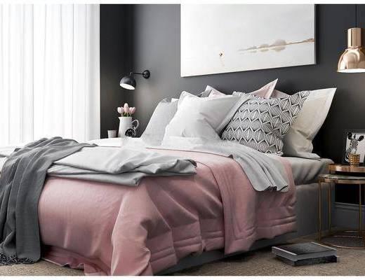 床头柜, 灯具, 摆件组合, 双人床, 床具组合, 装饰画