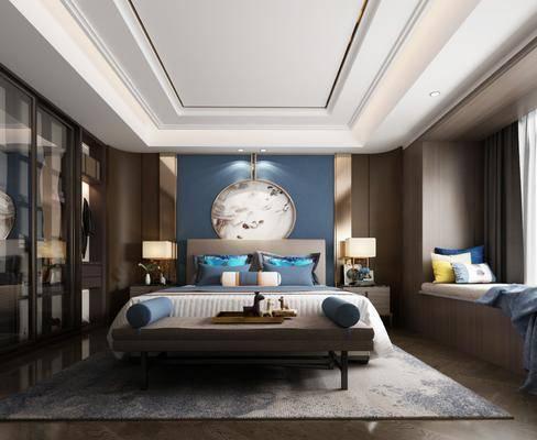 卧室, 双人床, 床尾凳, 台灯, 床头柜, 衣柜, 服饰, 新中式