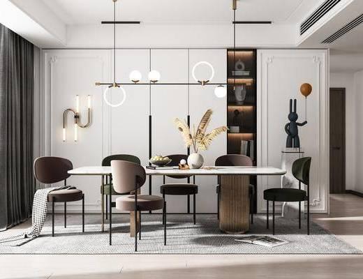 餐桌, 桌椅组合, 吊灯, 壁灯, 花瓶, 装饰品