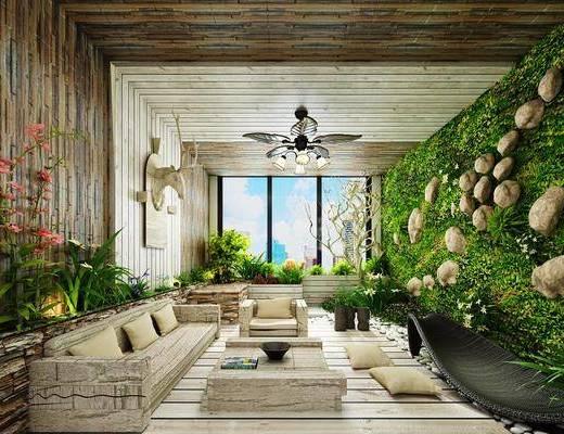 阳台露台, 植物墙, 多人沙发, 单人沙发, 茶几, 绿植植物, 吊灯, 墙饰, 现代