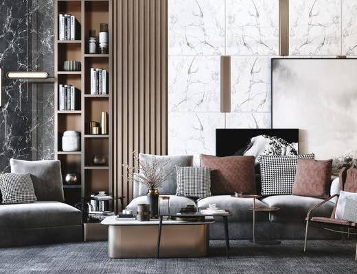 沙发组合, 茶几, 摆件组合, 单椅, 抱枕, 吊灯