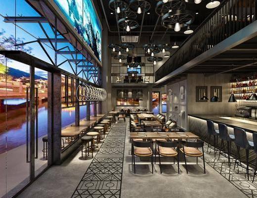 烧烤酒吧, 餐厅, 餐桌, 餐椅, 单人椅, 造型吊扇灯, 吧台, 吧椅, 桌椅组合, 管道顶, 吊灯, 工业风