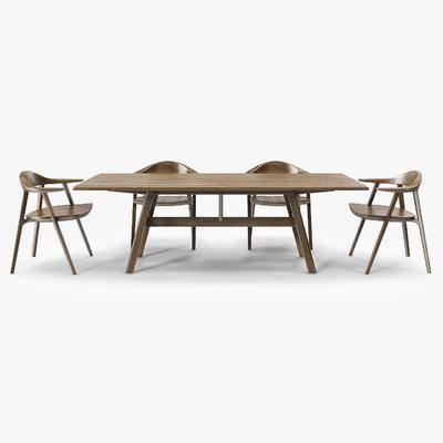 桌椅组合, 桌子, 单人椅, 北欧