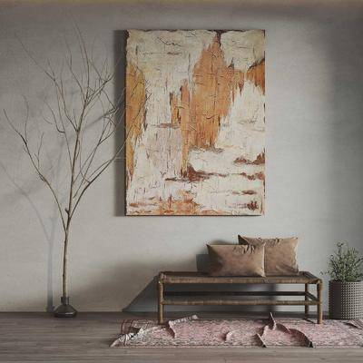 现代长凳挂画组合