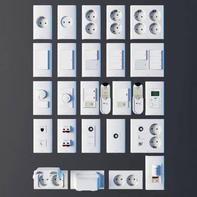 开关, 插座, 电源, 现代, 开关面板