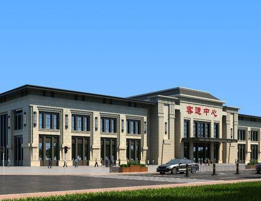 客运站车站, 门面门头, 汽车组合, 人物组合, 树木, 绿植植物, 新中式