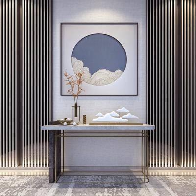 玄关柜, 边柜, 装饰画, 挂画, 案几, 摆件, 装饰品, 陈设品, 新中式