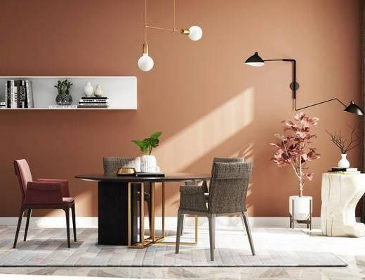 桌椅组合, 餐桌, 椅子, 吊灯, 落地灯, 盆栽, 置物架, 摆件, 书本, 现代