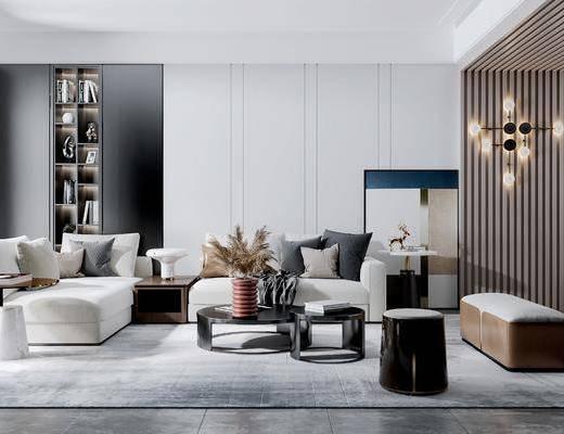 沙发组合, 茶几, 墙饰, 吊灯, 餐具组合