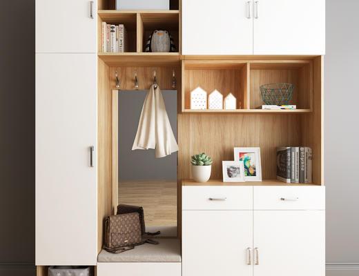 衣柜, 鞋柜, 木柜, 现代