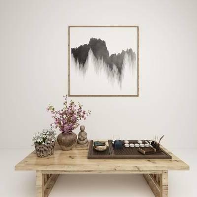 新中式, 茶几, 茶具, 摆件, 盆栽, 花, 装饰品, 陈设品, 挂画