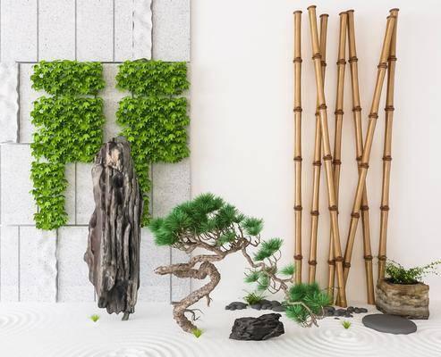 景观小品, 园艺小品, 树木, 绿植植物, 中式
