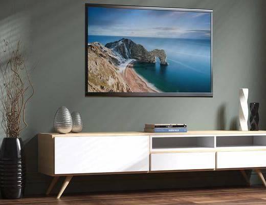 电视柜, 现代电视柜, 摆件, 现代