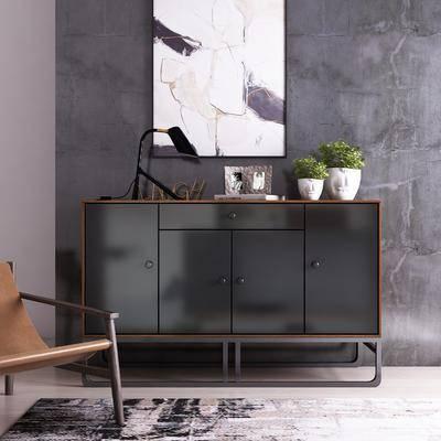 装饰柜架组合, 边柜, 装饰柜, 单椅, 植物, 现代装饰柜组合, 盆栽, 挂画, 台灯, 现代