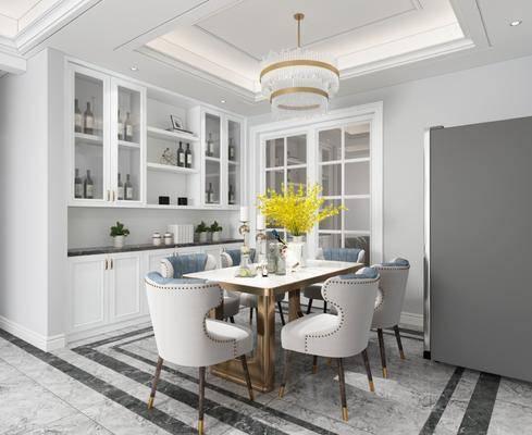 现代餐厅, 餐厅, 餐桌, 椅子, 吊灯, 橱柜, 置物柜, 餐具, 花瓶