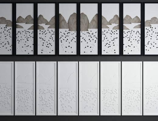 山水挂画, 挂画组合, 风景画, 新中式