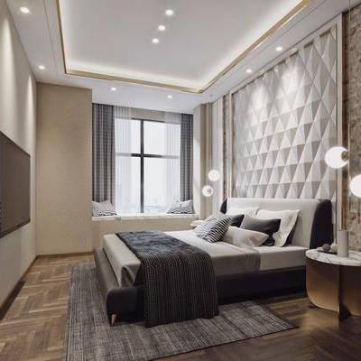 卧室, 床头柜, 双人床, 吊灯