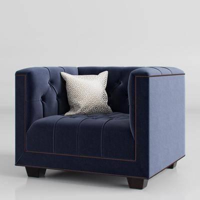单人沙发, 沙发, 抱枕, 布艺, 现代