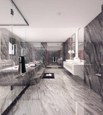 卫生间, 洗手台, 装饰镜, 浴缸, 吊灯, 中式