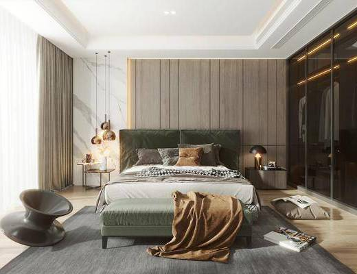 双人床, 床尾踏, 衣柜, 床头柜, 摆件组合, 吊灯