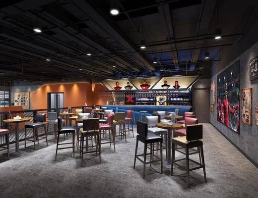 工业风餐厅, 前台, ?#21830;? 吧椅, 单人椅, 酒柜, 酒瓶, 照片墙, 工业风