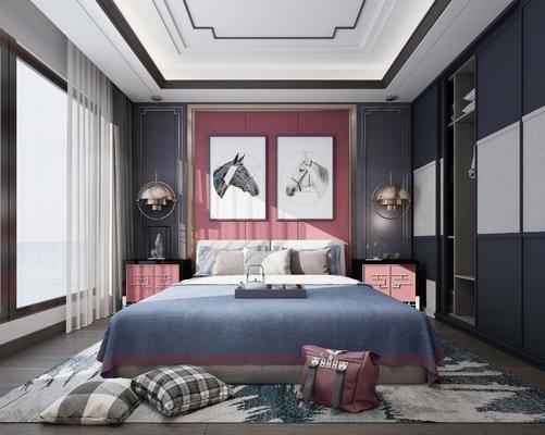 新中式卧室, 卧室, 中式卧室